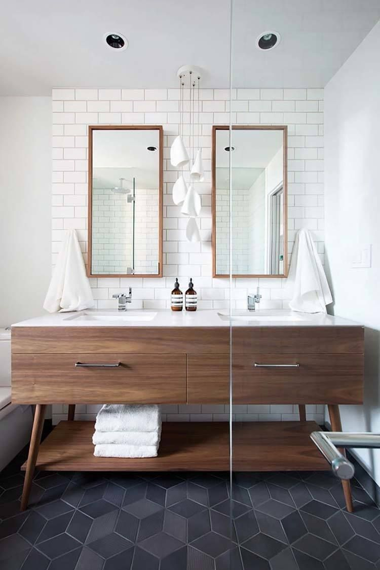 Gorgeous bathroom with white subway tile black