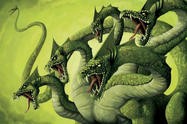 Hydra-this greek dragon regenerated heads every time one was severed. For one cut off head, two more grew. Hercules had to use his head when he faced this beast. He soon found the solution in not only burning the decapitated stumps, he also stabbed the monster in it's heart.