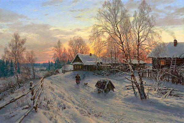 Winter evening in the village Art Print by Basov
