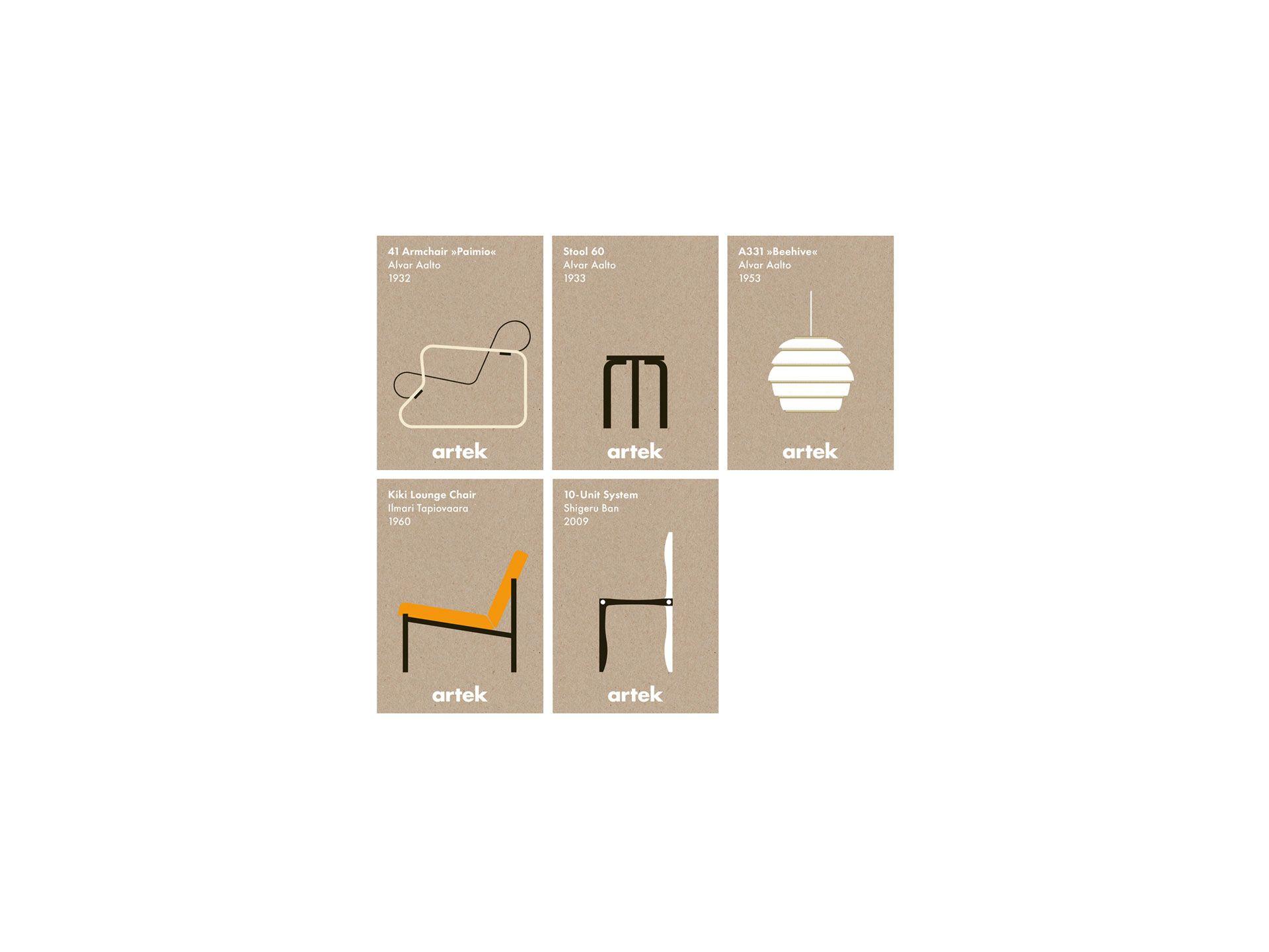 Artek - Tuotteet - abc Collection - KORTIT - IKONI, 5 KPL SETTI