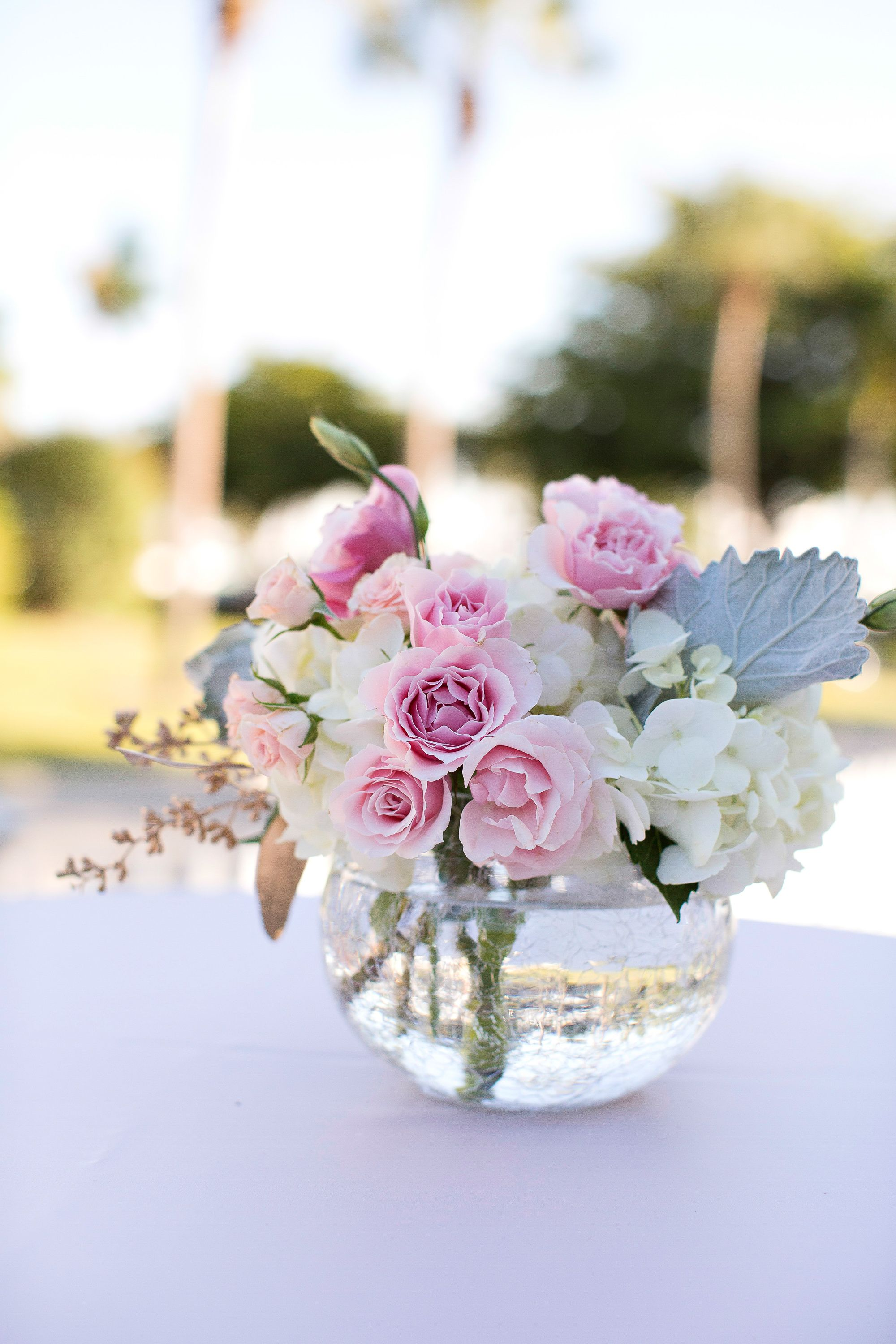 tea rose and hydrangea cocktail table centerpiece full bloom in rh pinterest com