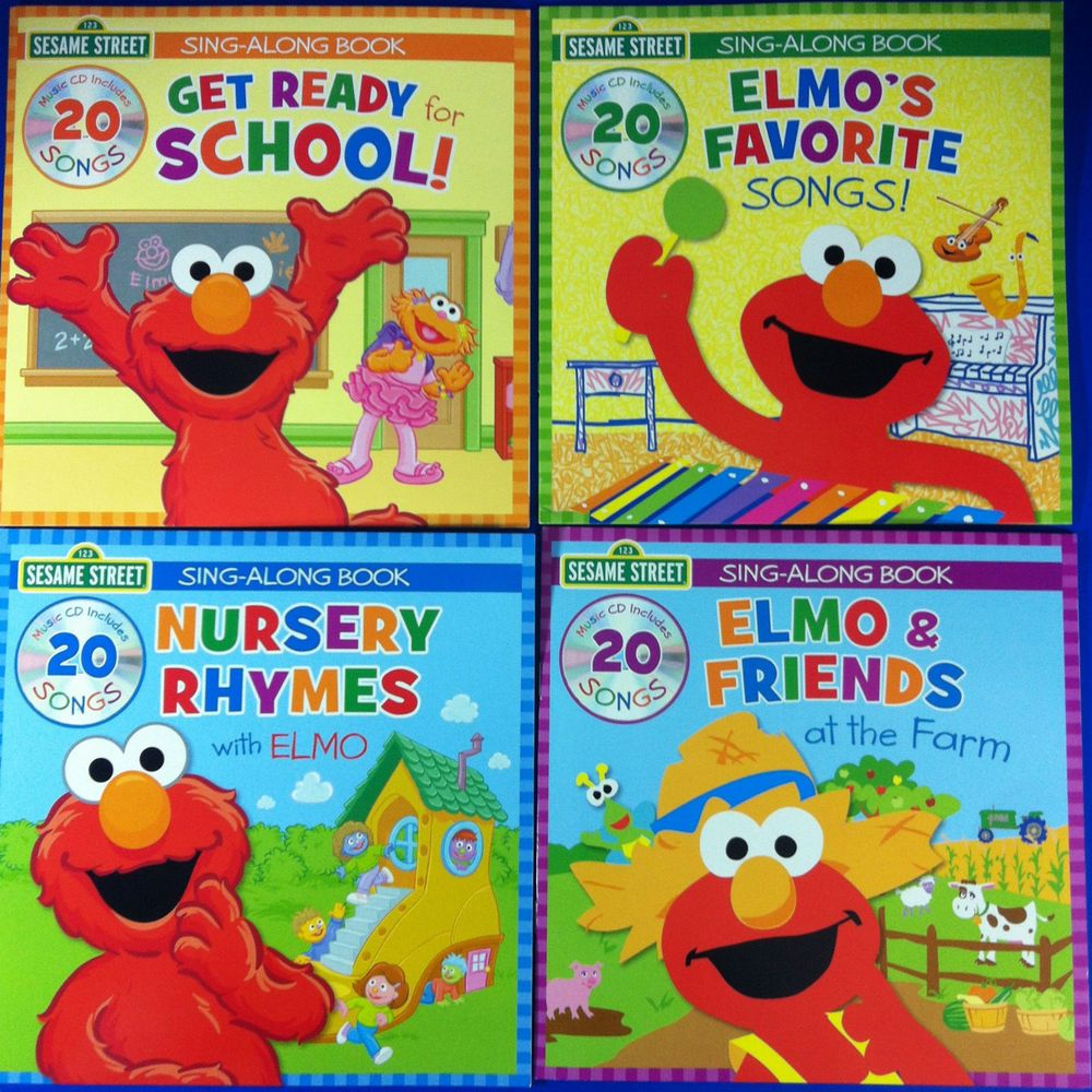 4 Sesame Street Elmo Sing Along Books With Music CDs 80