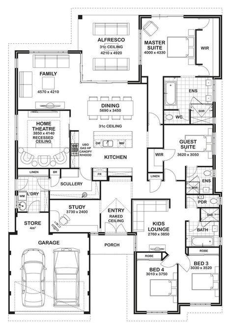 floor plan friday 4 bedroom 3 bathroom home blueprints house rh pinterest com