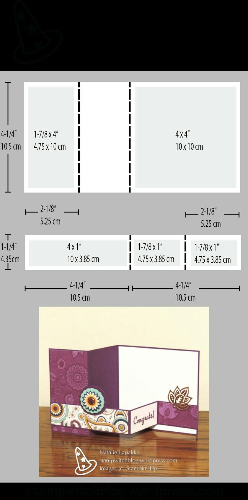 Petals And Paisleys Double Z Fold Card Folded Cards Fun Fold Cards Card Making Templates