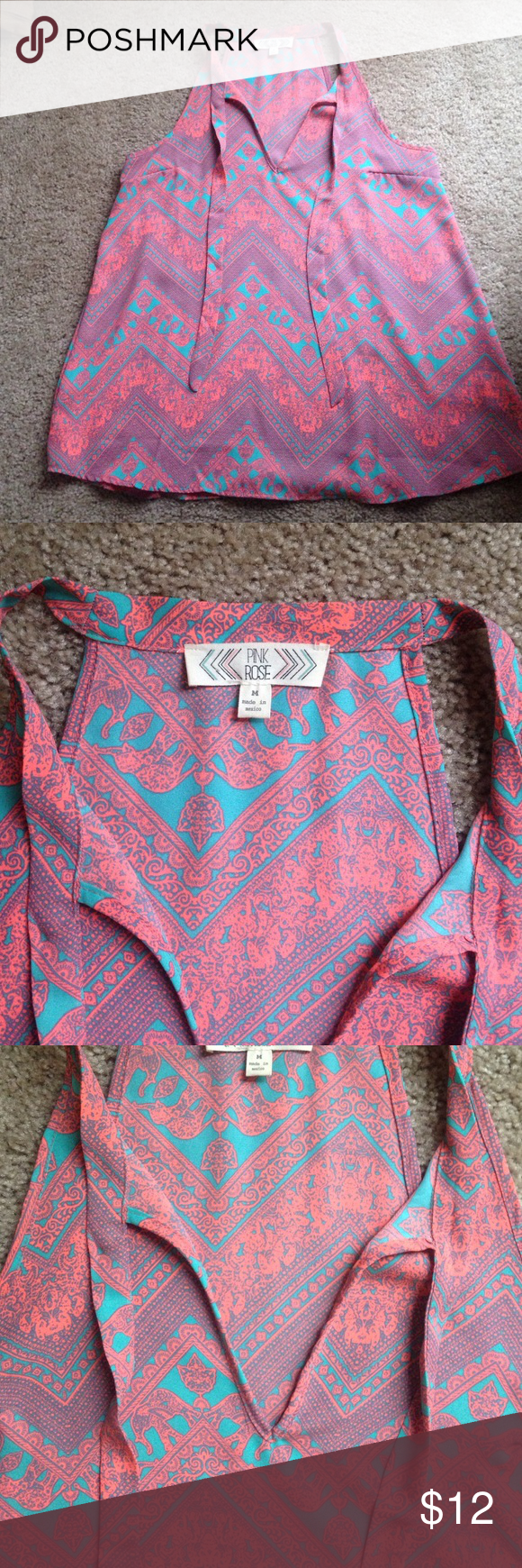 Pink and Teal pattern blouse Oh so cute top for all seasons! Lightweight material, nice and flowy. Worn only twice. Pink Rose Tops Tank Tops