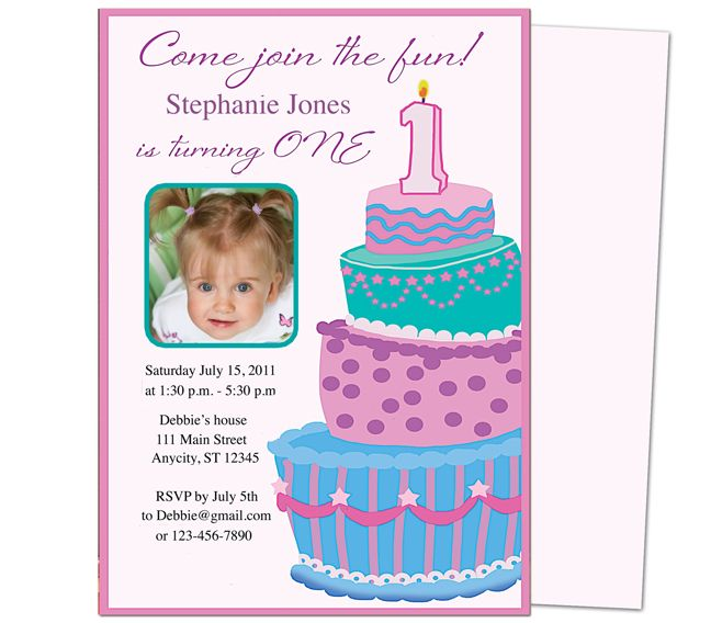 Sweet Cakes 1st Birthday Invitation Templates Great template for - birthday invitation template word