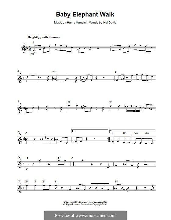 Baby Elephant Walk: Melody line, lyrics and chords by Henry Mancini ...