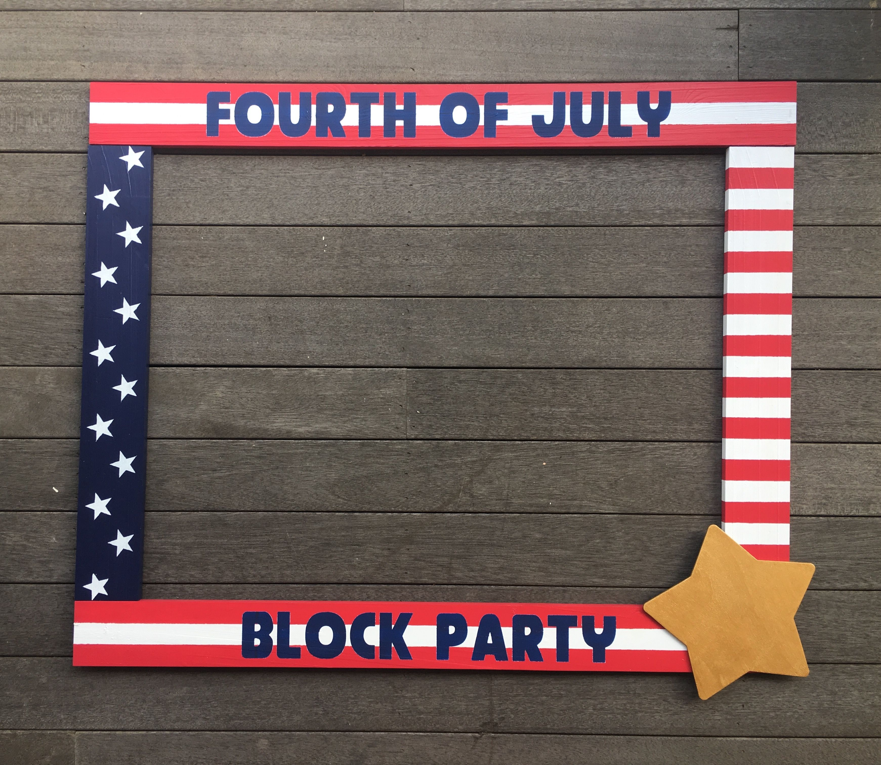 Fourth of July Photo booth - Memorial Day Photo booth - Wood Frame ...
