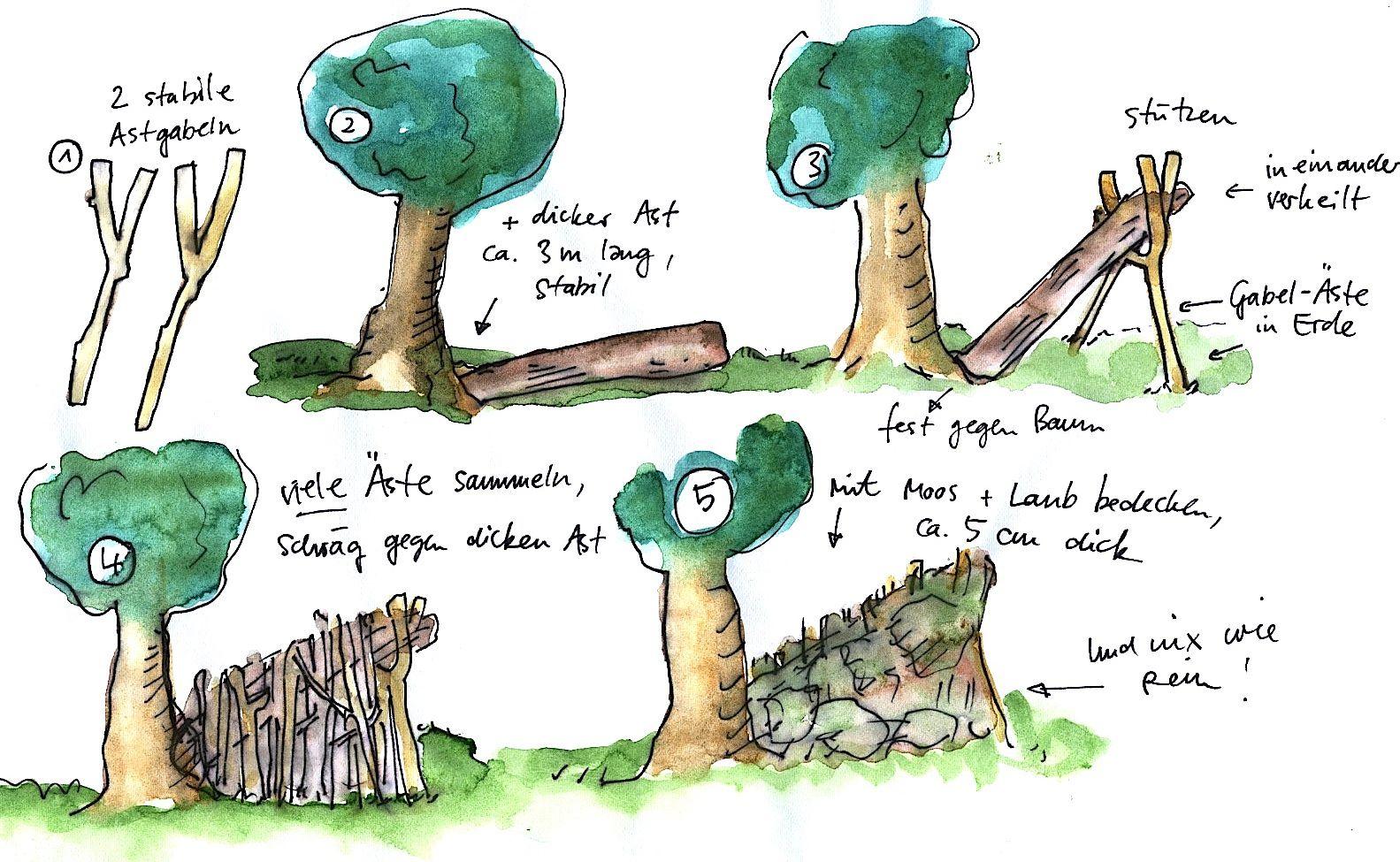 Waldhutte Bauen Furs Lager Pinterest Wald Hutte Im Wald Und