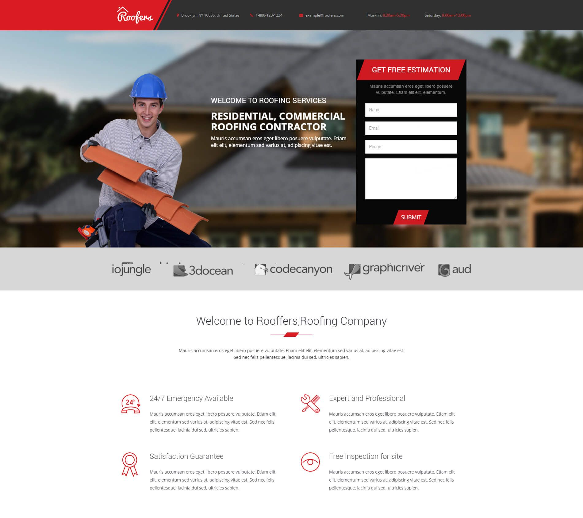 Roofers Landing Page Is One Of The Best Responsive Html Template For Roofers Construction Companies Hvac Plumbing Roofer Landing Page Commercial Roofing