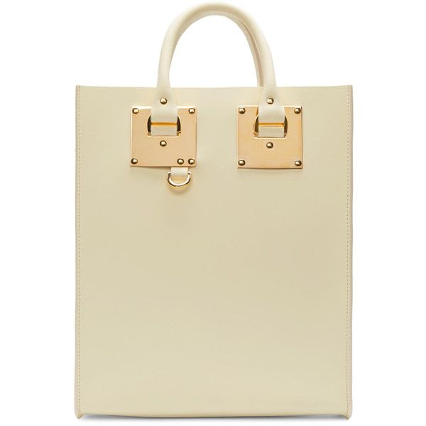 Sophie Hulme Cream Mini Albion Tote Bag ($835) ❤ liked on Polyvore featuring bags, handbags, tote bags, structured tote bag, mini tote, mini purse, leather handbags and metallic leather handbags