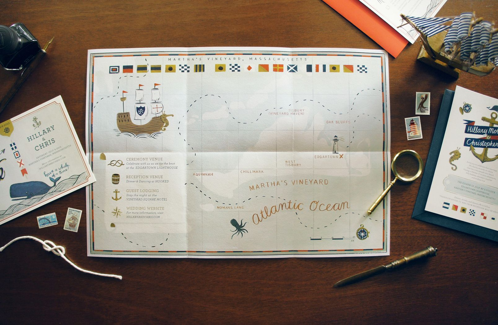 wedding invitations map%0A The map is great  Oh So Beautiful Paper  Hillary   Chris u    s Illustrated  Nautical Wedding Invitations