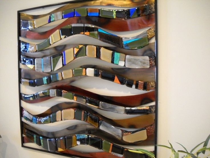 layered metal and glass art wallFused glass and metal wall art