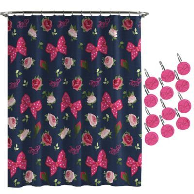 Nickelodeon Jojo Siwa Roses And Bow Shower Curtain And Hooks Set