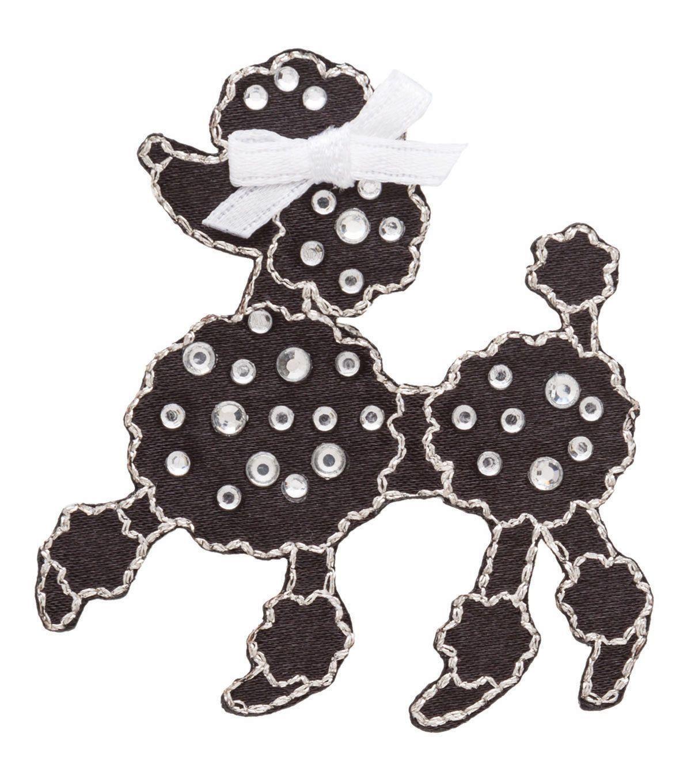 Simplicity Iron-On Applique-Jeweled Black Poodle W/Rhinestones ...