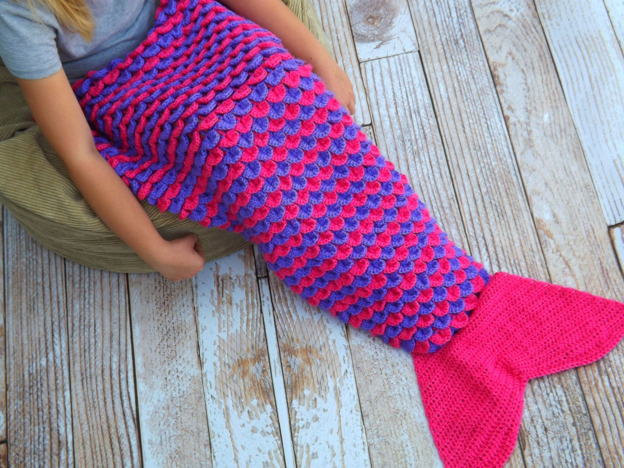 Mermaid Tail Blanket - Pink and Purple - Child Size | Crochet ...