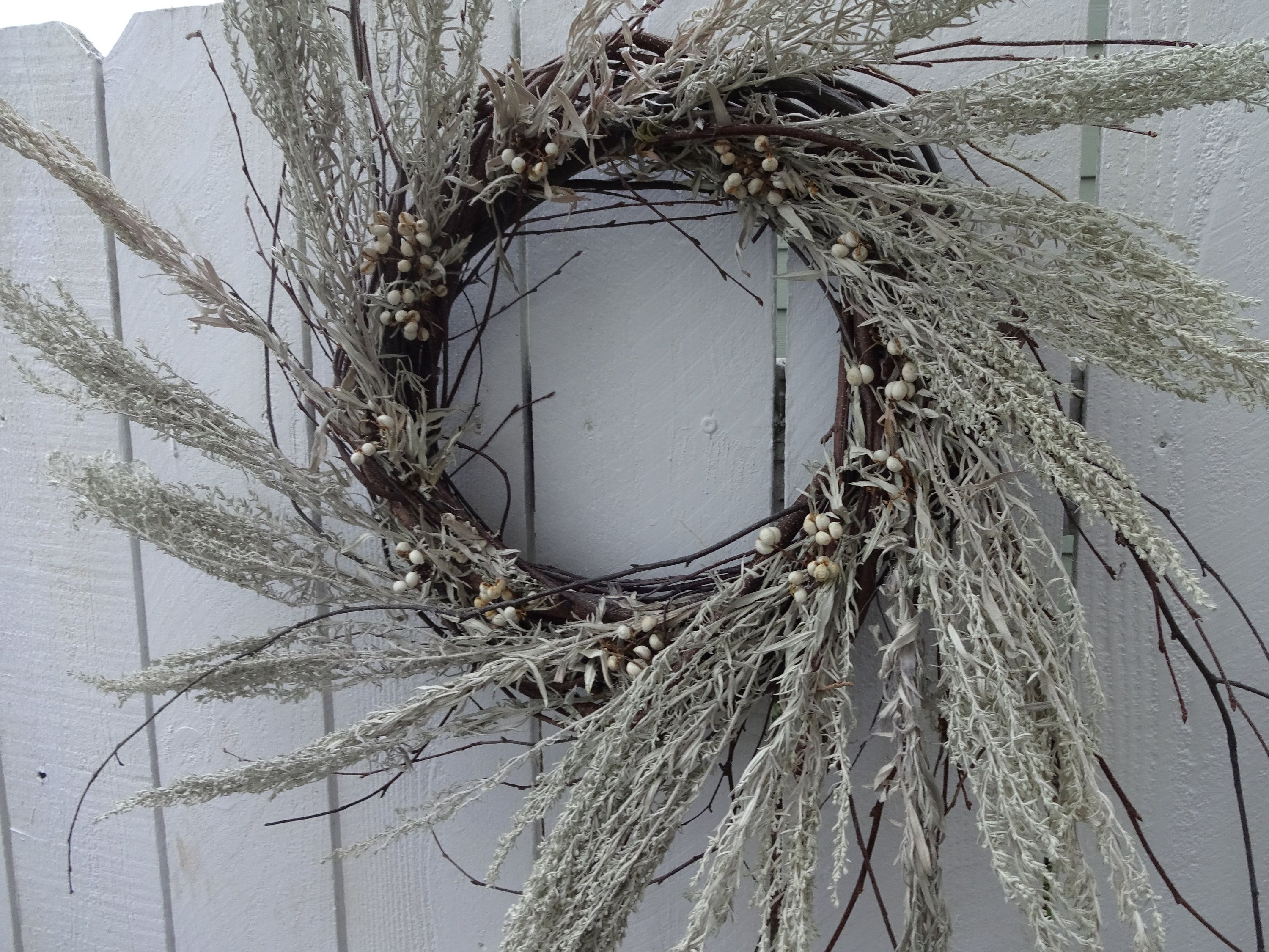 Photo of Pussy Willow Wreath  Dried Wreath  Silver King  Natural Wreath Large Wreath  Front Door Wreath  Wreath For Door  Tallow Berry Wreath