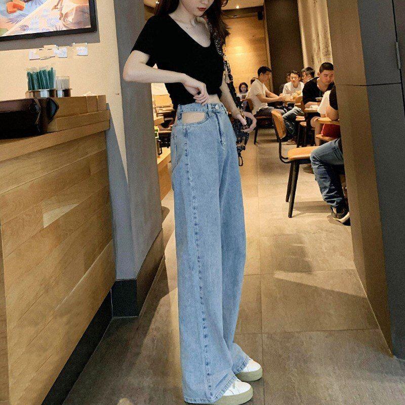 Women Fashion High Waist Wide Leg Jeans 2019 Autumn Hollow Out Denim Pants Female Loose Casual Trousers Wide Leg Jeans Fashion Fashion Pants