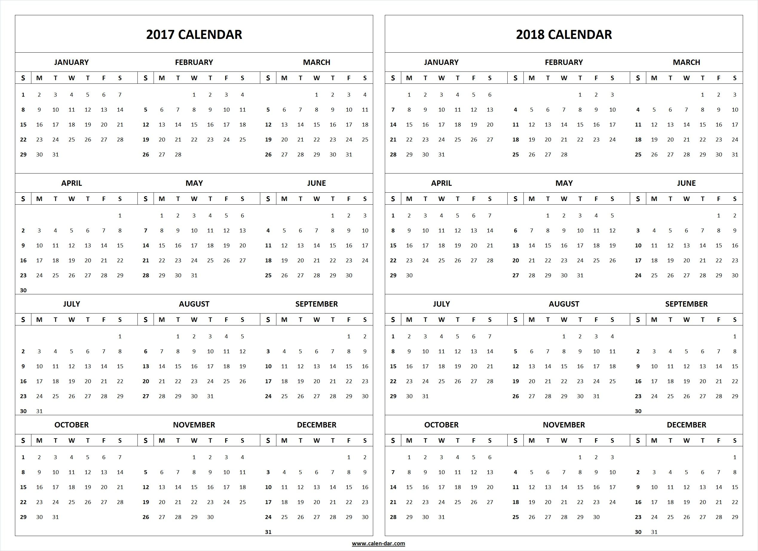 get free blank printable 2017 2018 calendar template these latest editable 2017 and 2018 calendar pages are available in pdf and microsoft word format