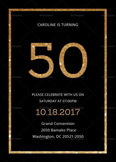 50th Birthday Invitation Card Template Party Invite Template Birthday Party Invitation Templates 50th Birthday Invitations