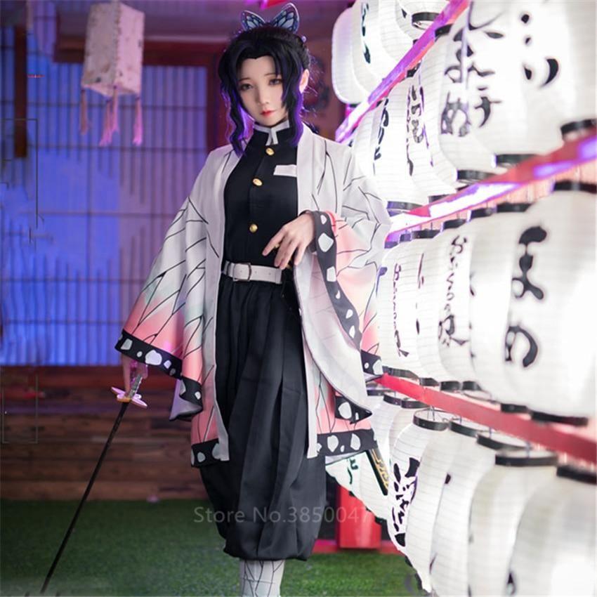 Photo of Anime Demon Slayer Kimetsu no Yaiba Kochou Shinobu Cosplay Costume – Color1 / XL