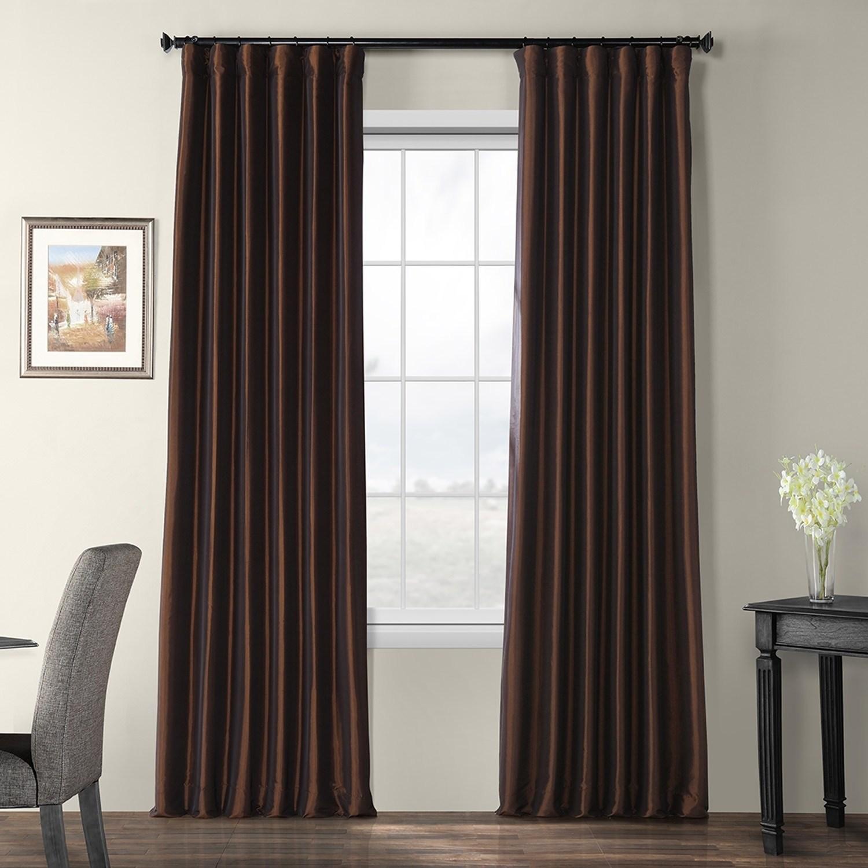Faux Silk Taffeta Solid Blackout Single Curtain Panel 120 In