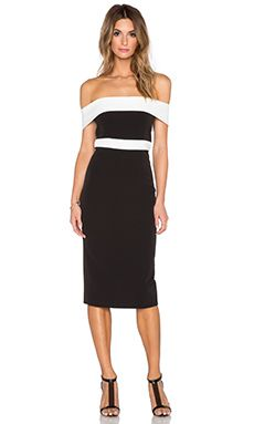 c4426f79b12 Bardot Two Tone Midi Dress in Black   Ivory