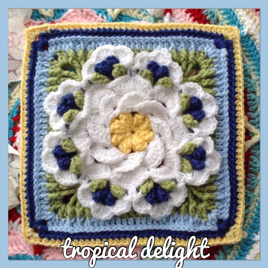 Tropical Delight crochet square | CUADRADOS, Ideas Ganchillo ...