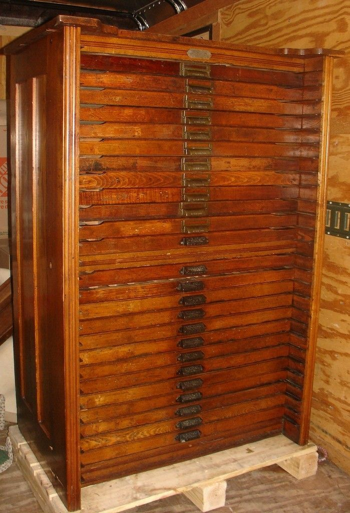 Antique Hamilton Porter Extension Oak Printers Type File Cabinet 25 Dwr