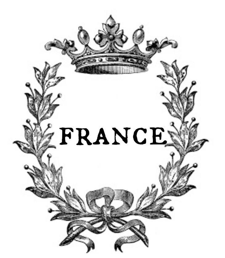 Antigua Etiqueta O Postal Francesa Francia Con Laureles Y Corona