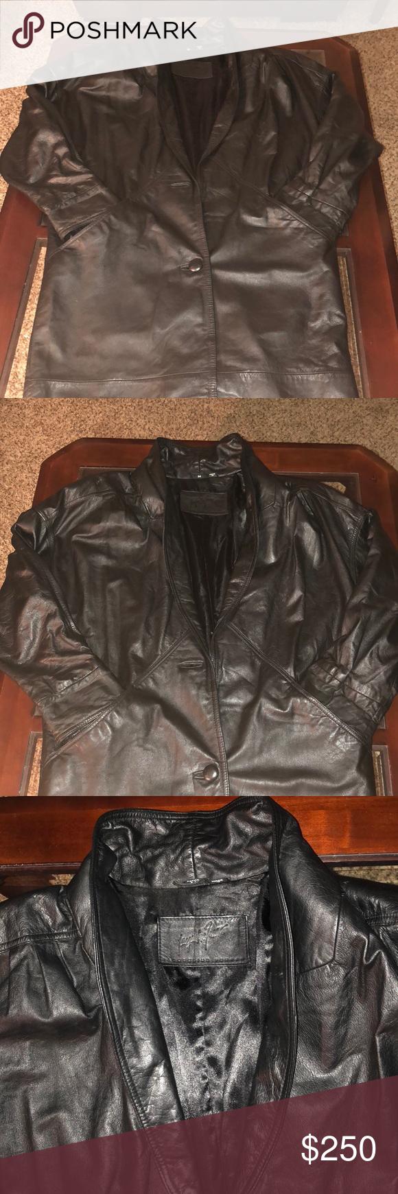 Unisex Genuine Leather Jf Ferrar Jacket Medium Unisex Genuine Leather Jf Ferrar Jacket Beautiful Sleek Black 42 Long Medium Jackets Leather Genuine Leather