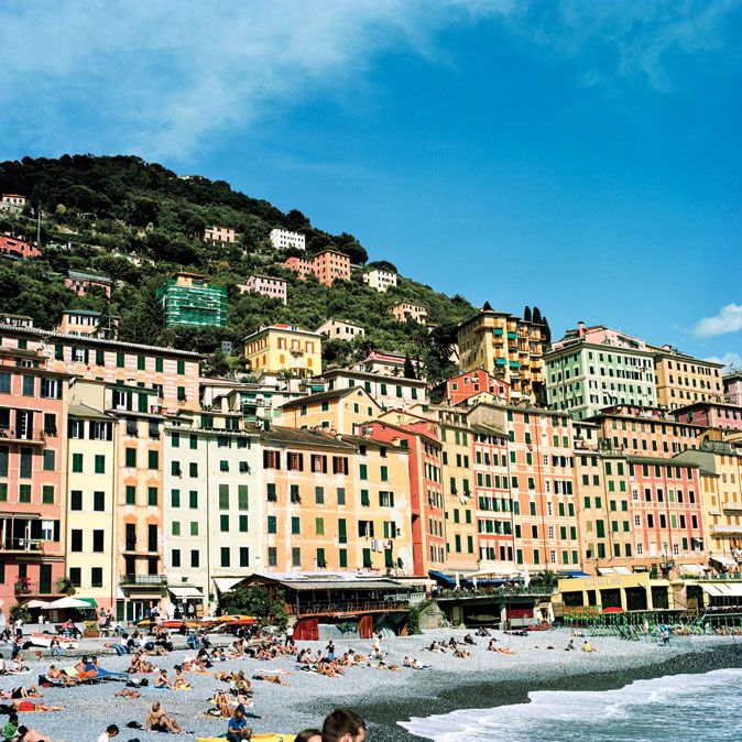 Houses in Camogli, Italy were traditionally painted different colors so that fishermen could easily pick out their own home as they approached the village from the sea.