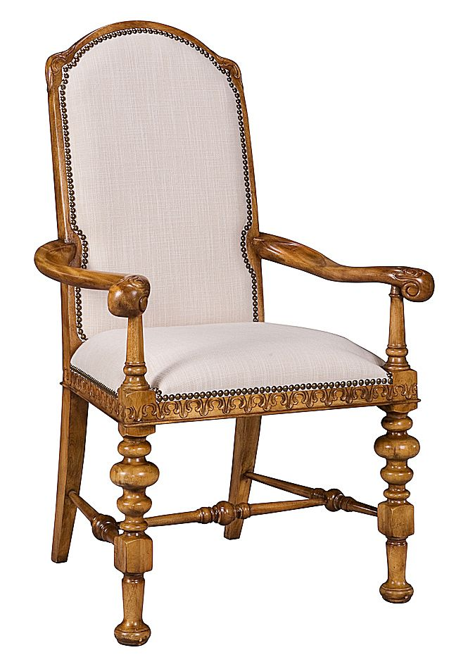 Arm Chair in Solid Hand Carved Walnut w Perth White Fabric Honey Finish New  | eBay - Arm Chair In Solid Hand Carved Walnut W Perth White Fabric Honey