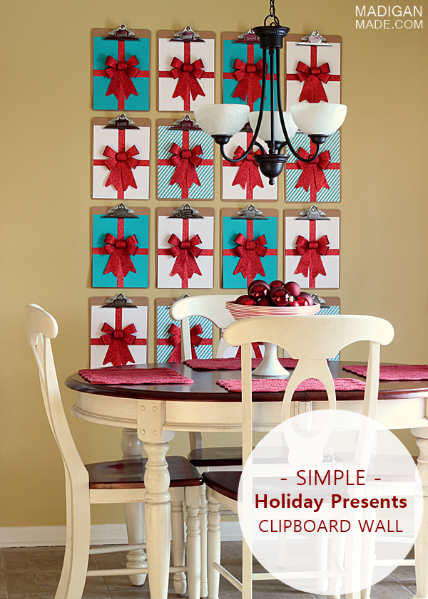 Modern holiday wall decor using clipboards - love the graphic ...