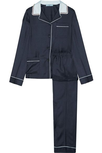 Embellished Silk-twill Pajama Set - Midnight blue Prada Brand New Unisex Online Fashion Style Cheap Price With Mastercard For Sale Purchase Cheap Price qgWYlmH1
