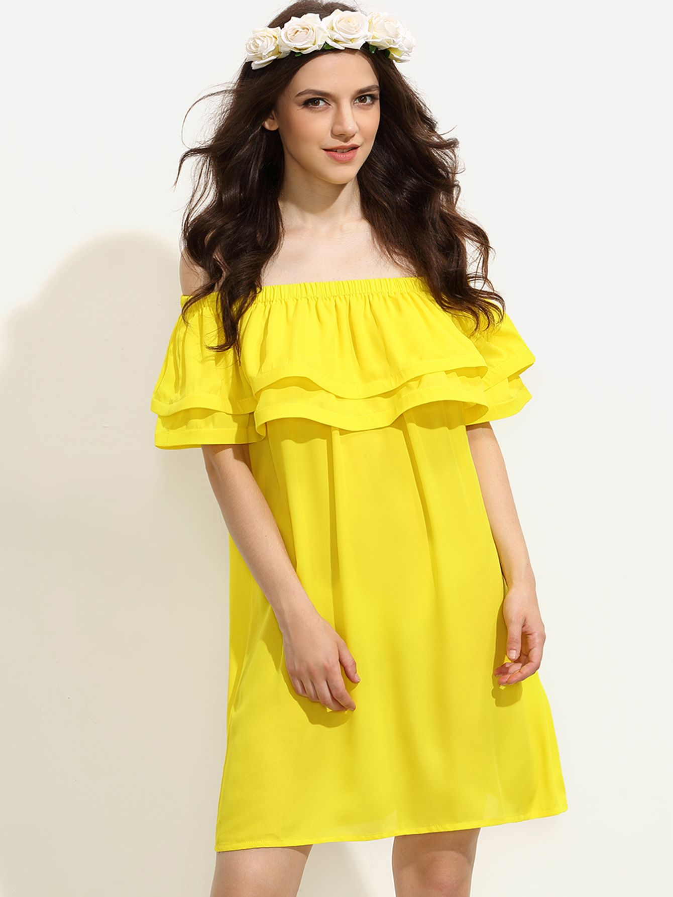 ec7063fce5001 Shop Yellow Ruffle Off The Shoulder Shift Dress online. SheIn offers Yellow…