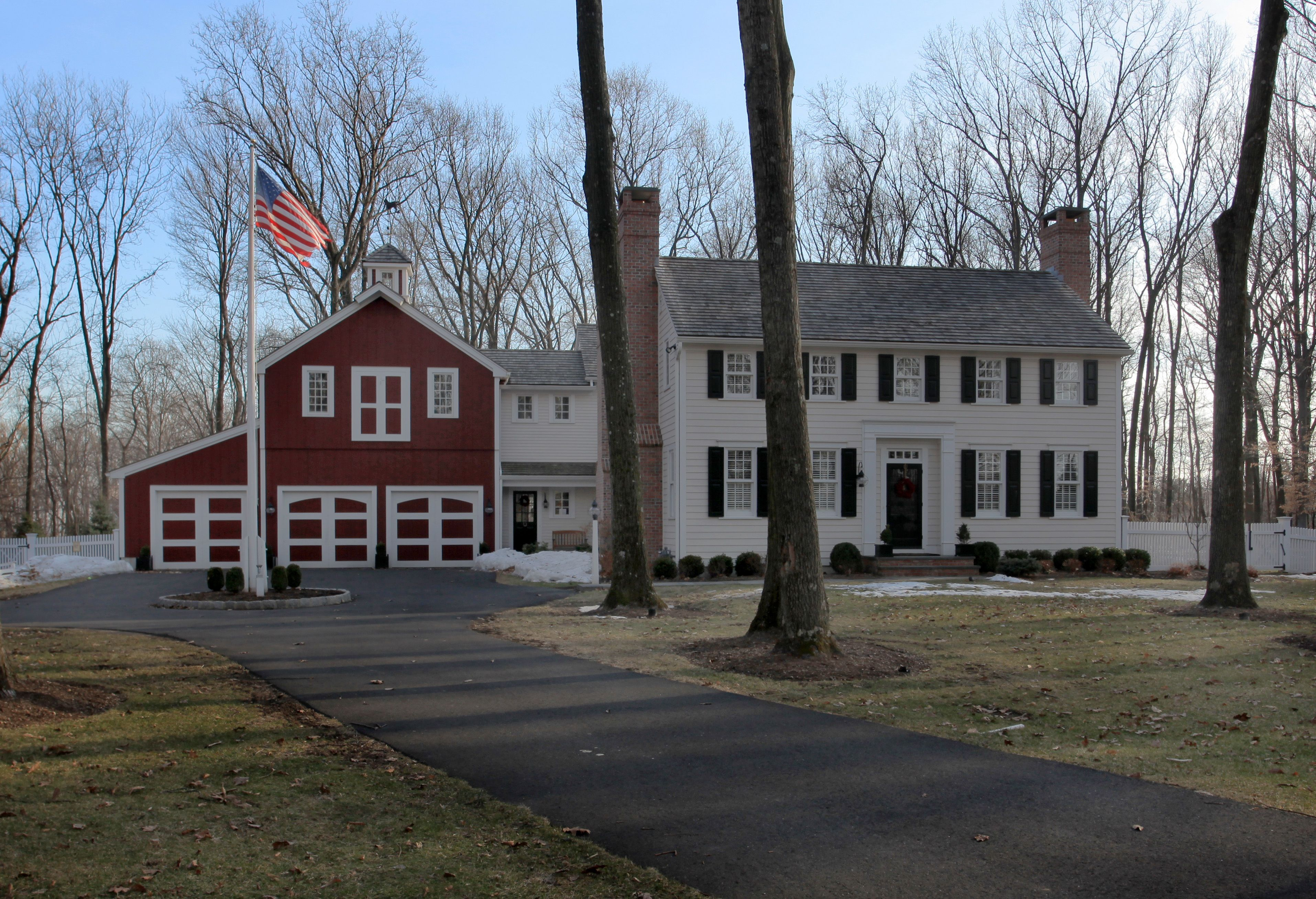 Red Barn Garage With White Colonial House Dream Barn