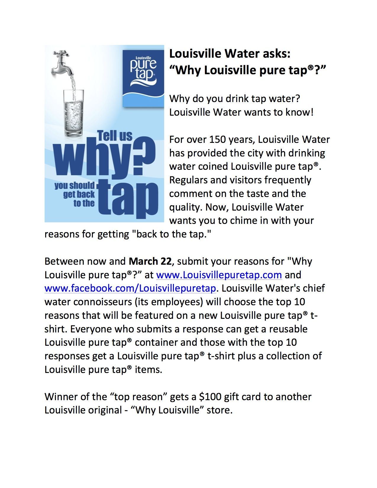 Tell Us Why Louisville Pure Tap Louisville Drinks Water Company