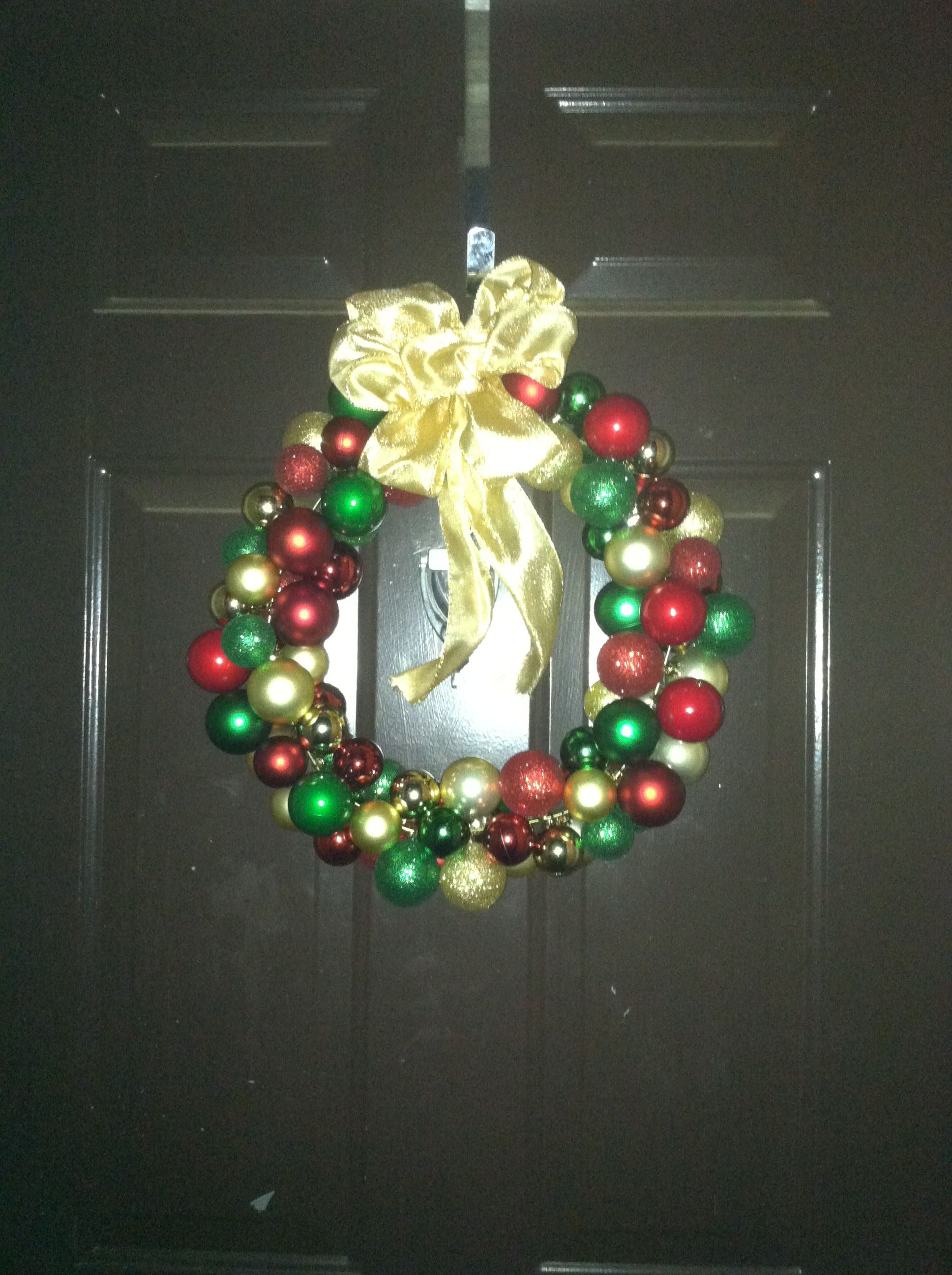 Ornament wreath on a wire hanger! First try