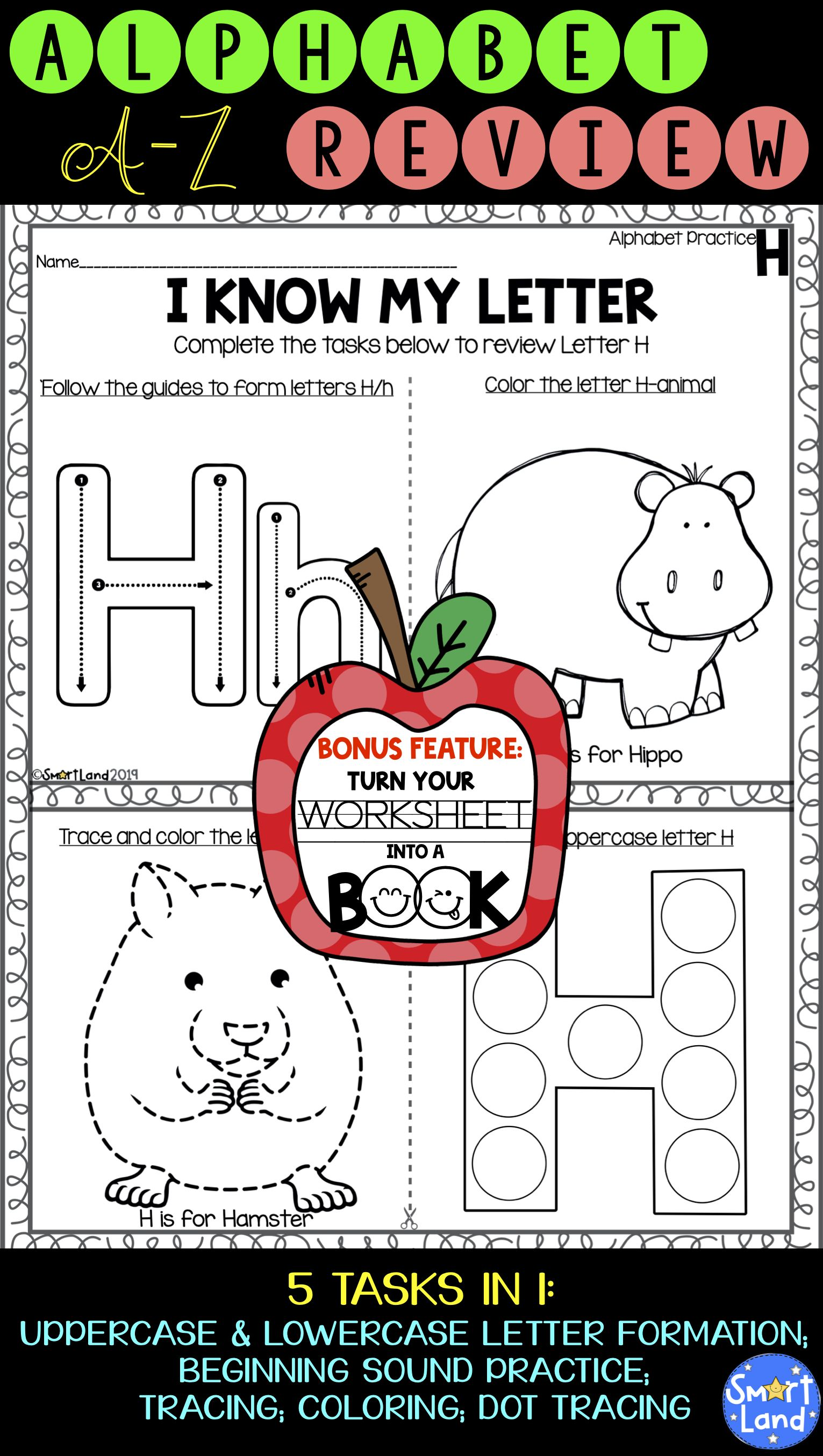 Alphabet Practice 2in1 Review Book With Images