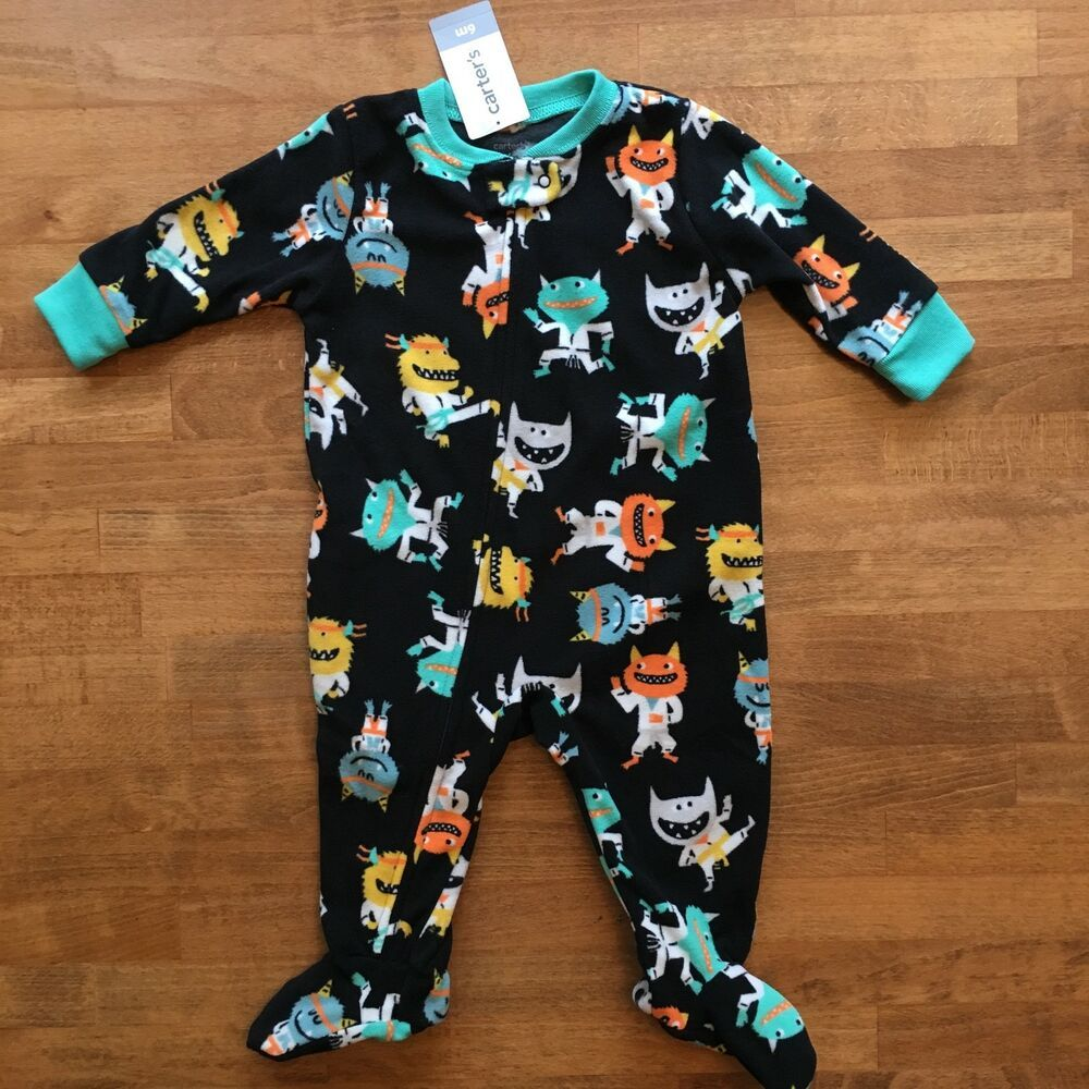 68584a5d1 NWT Carters Boys Sz 3 to 6 M Fleece Footed Footie Pajamas Sleeper ...