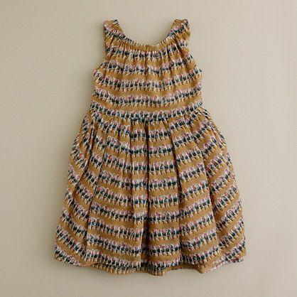 Girls' flowerpot button-back dress