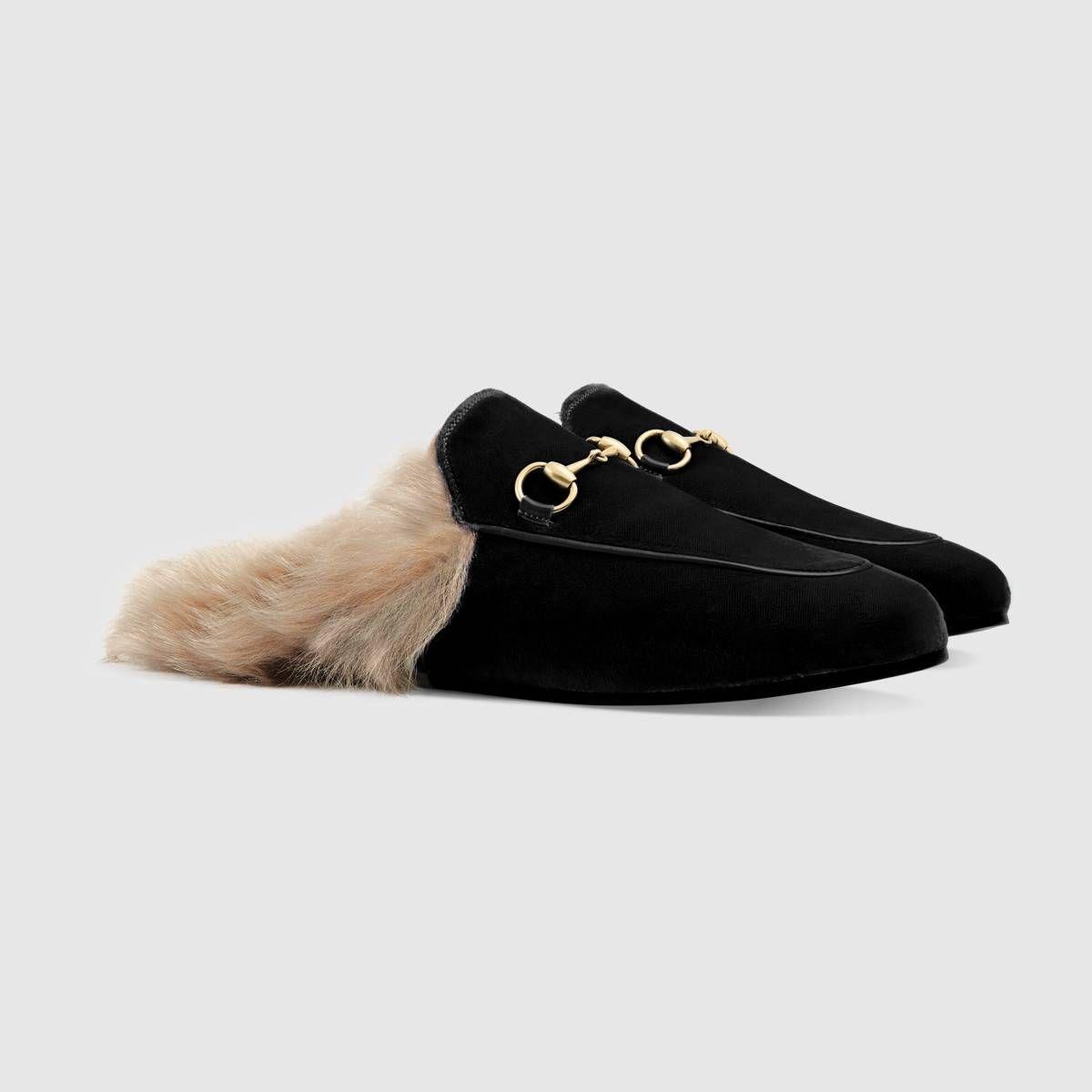 Gucci - Princetown black velvet slipper