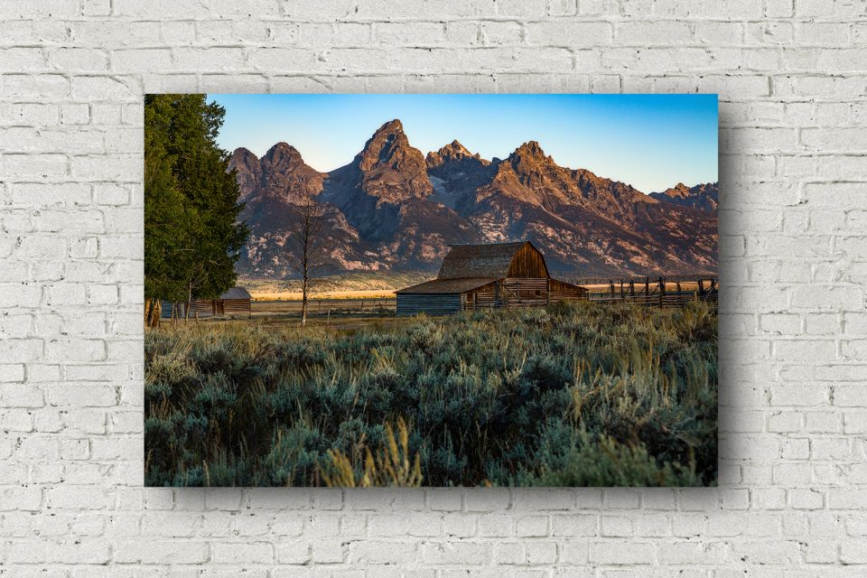 Wyoming Photography Canvas Wall Art Gallery Wrapped Canvas Of Barn Along Mormon Row In Grand Tetons Landscape Canvas Mountain Photography Wyoming Landscape