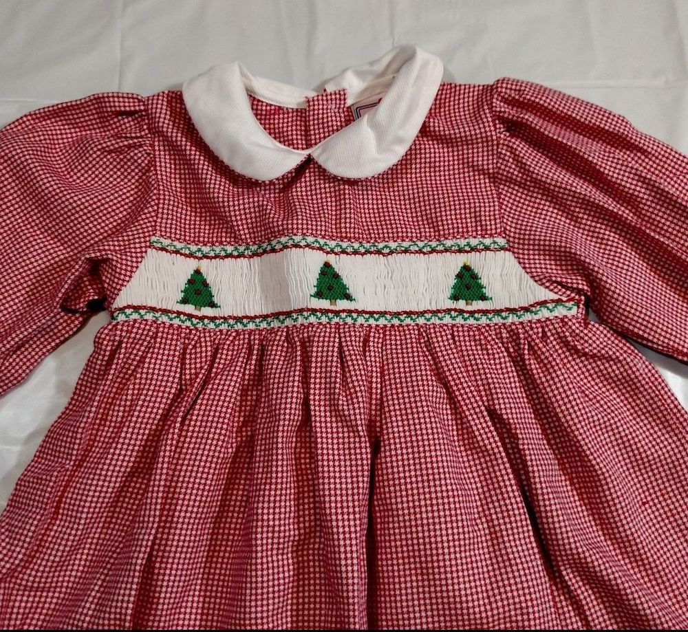 petit ami christmas dress plaid girls size 24 month red white smocked embroidery petitami