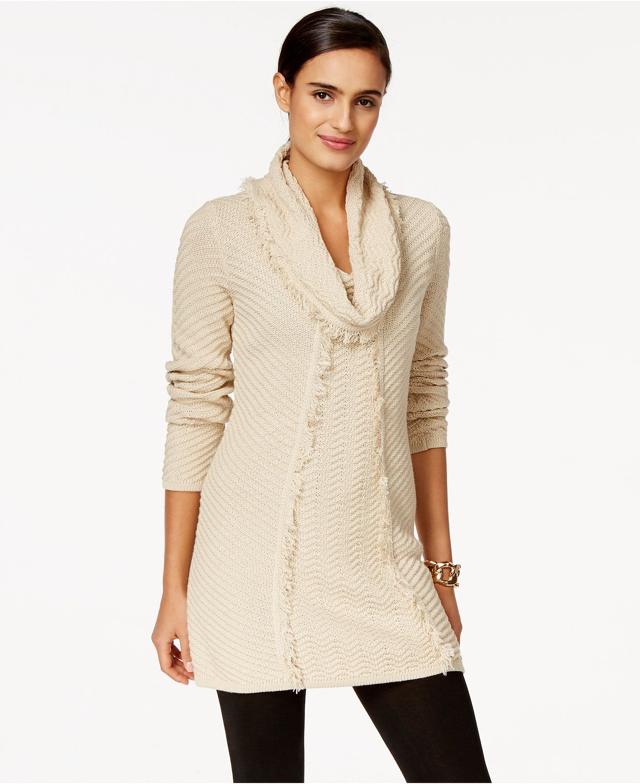 Style & Co. Fringe Tunic Sweater, Only at Macy's - Sweaters ...