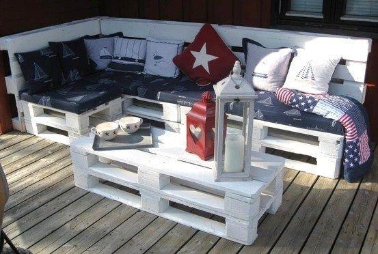 Salons de jardin faits avec des palettes en bois ! | canape en ...