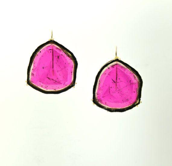 Watermelon slice wire drop earrings by PamelaHuizenga on Etsy