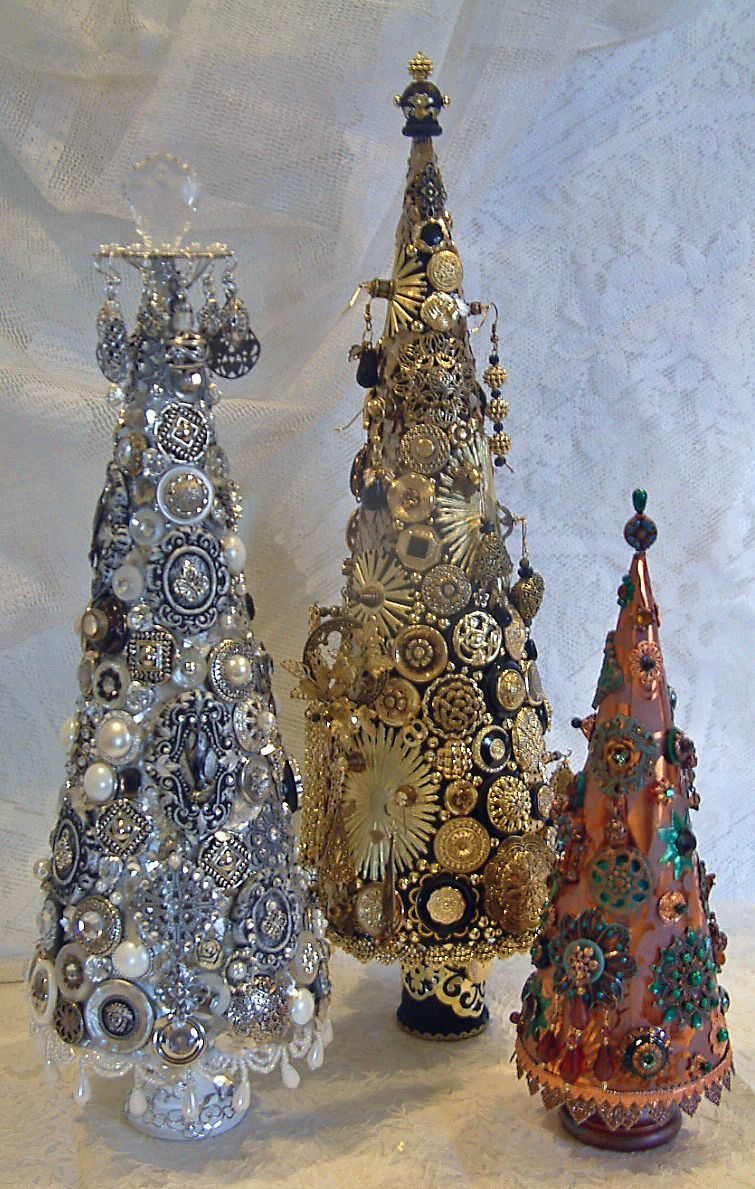 Jeweled Trees Made From Paper Mache Cones To See More Of