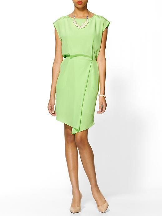 Tibi Drape Silk Dress In Neon Green